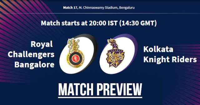 VIVO IPL 2019 Match 17 RCB vs KKR Match Preview, Head to Head and Trivia