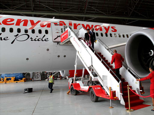 KQ at JKIA loading passengers