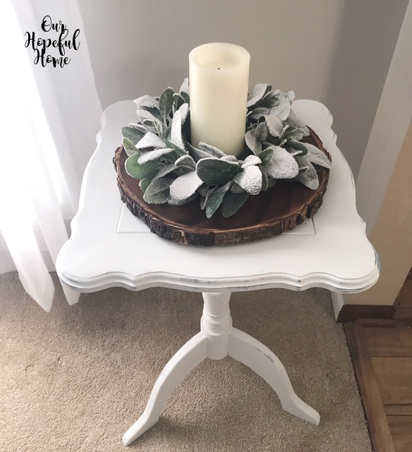 LED candle eucalyptus leaf candle ring white chalk painted side table