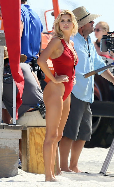 Kelly Rohrbach – Hot in red swimsuit filming Baywatch in Georgia