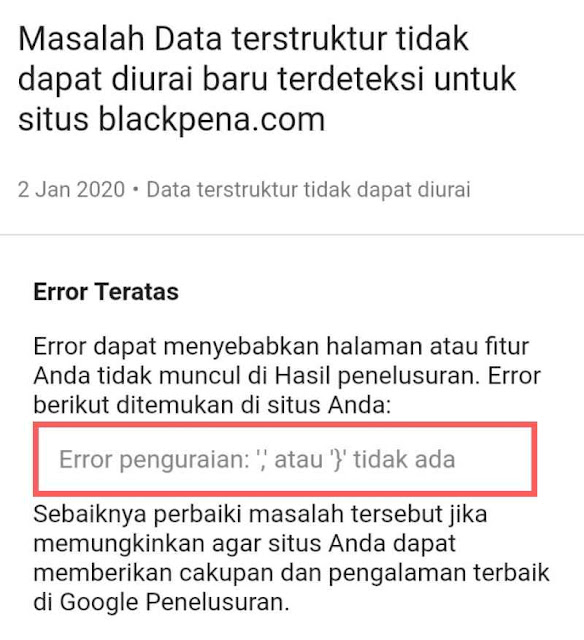 Cara mengatasi data terstruktur tidak dapat diurai