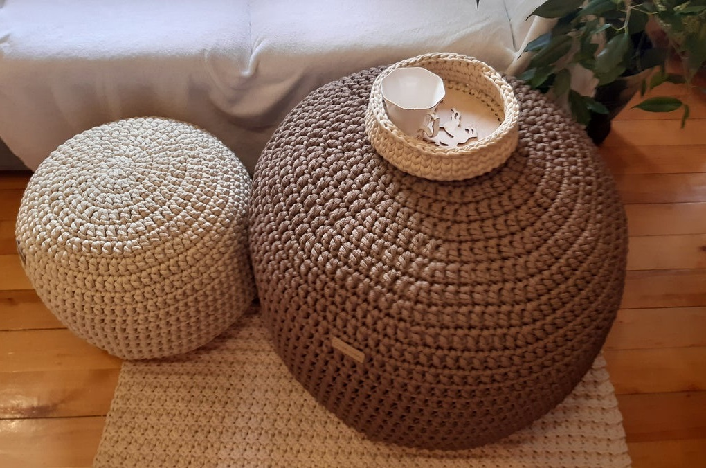 buy best cute round table with  cream and bown linen crochet pouf for sofa corner