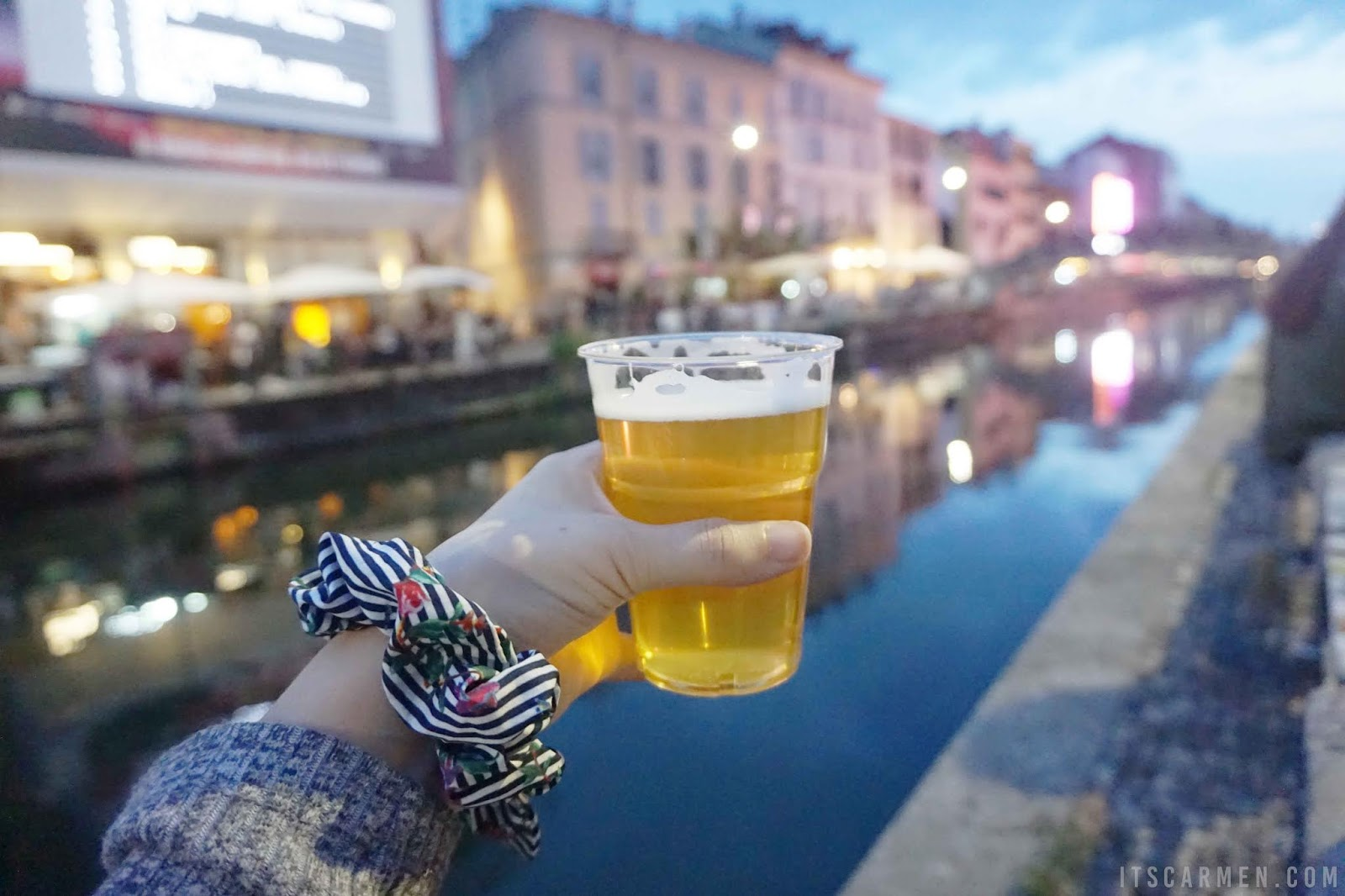 Sipping on Pico Brew by Navigli at sunset in Milan, Italy highlights