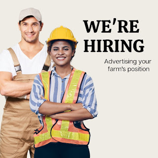 """Two people smiling with arms crossed, words next to them on white background that read, """"We're hiring: advertising your farm's position."""""""