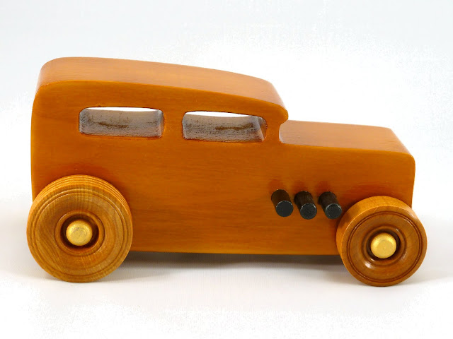 Right Side - Wooden Toy Car - Hot Rod Freaky Ford - 32 Sedan - Pine - Amber Shellac - Metallic Gold - Black