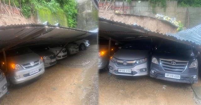 हिमाचल: पार्किंग के छत पर गिरा डंगा, भूस्खलन के चलते NH 707 का कई क्षेत्रों से संपर्क टूटा