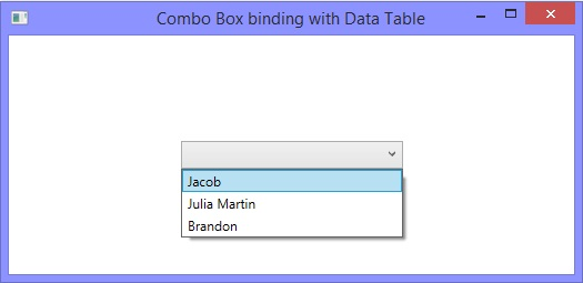 How to bind combo box with data table in WPF C#, XAML