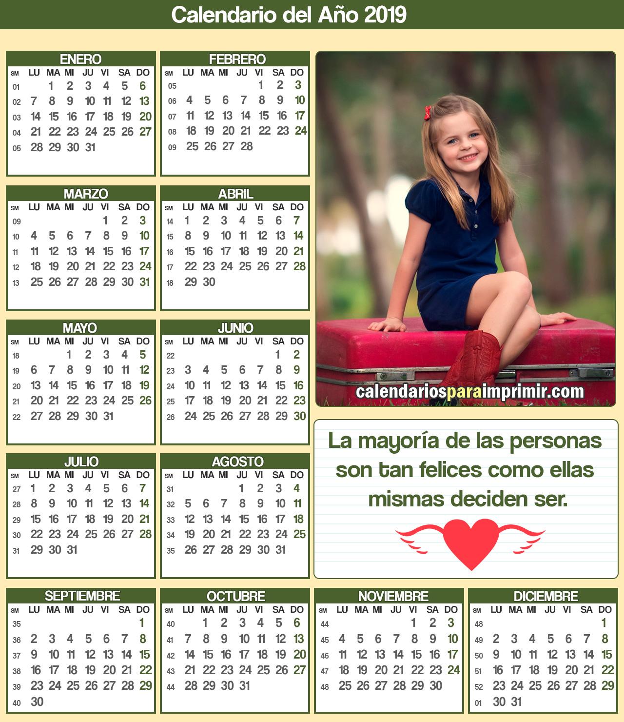 calendarios con frases felices para imprimir 2019