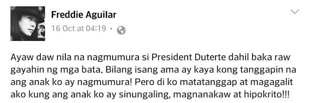 Freddie Aguilar Says Duterte Is A Great Role Model: 'Kaya Ko'ng Tanggapin Na Ang Anak Ko Ay Nagmumura, Di Ko Matatanggap Kung Ang Anak Ko Ay Magnanakaw !'