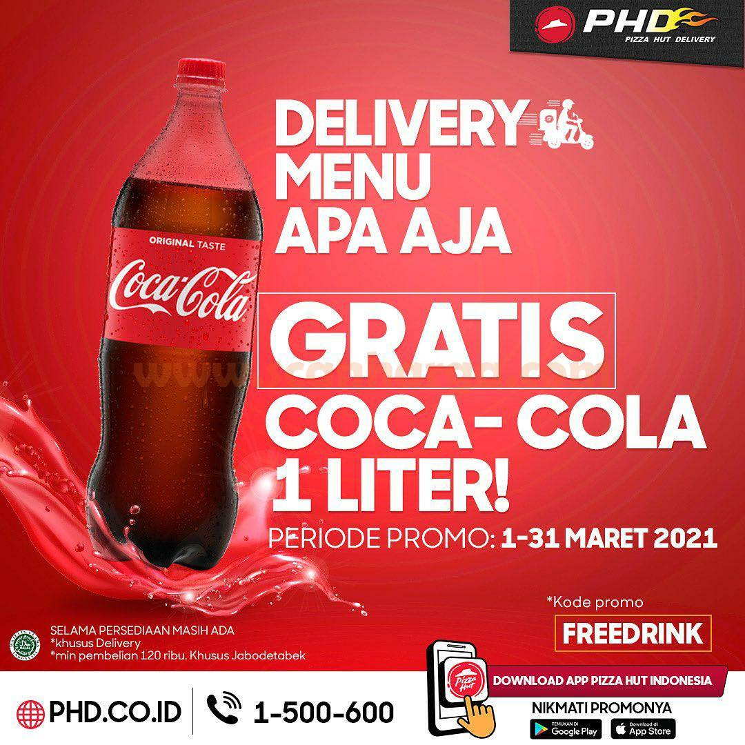 Promo PHD GRATIS Coca-Cola 1 Liter atau 2 Lemon Tea