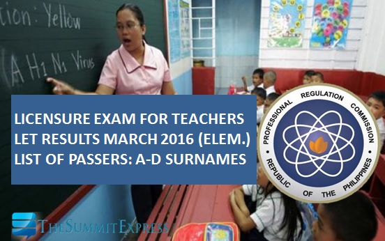 A-D Passers: LET Results March 2016 Elementary List