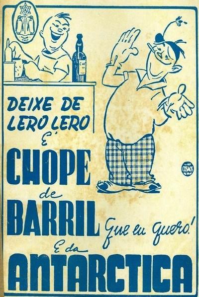 Anúncio antigo da Cerveja Antarctica promovendo seu chope de barril em 1942
