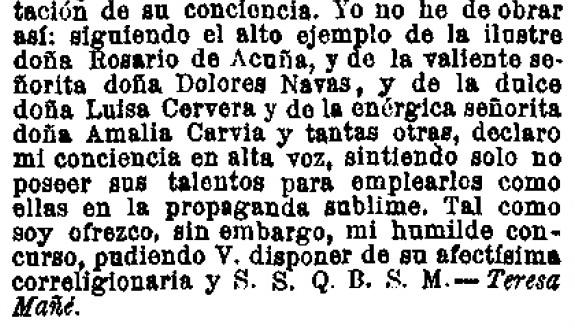 Fragmento de una carta publicada en el verano de 1887