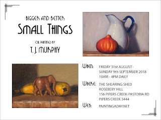 Exhibition flyer including show details and pictures of a jug with a pumpkin and a wooden elephant with a banana.