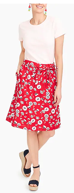 J Crew Pull On Bow Poppy Skirt