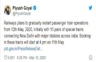 लॉकडाउन के बीच रेलवे का बड़ा फैसला, 12 मई से चलेंगी स्पेशल ट्रेनें, कल शाम 4 बजे से IRCTC पर होगी बुकिंग