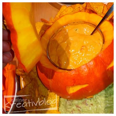 """https://www.kleiner-kreativblog.de Halloween-Food """"Kotzender Kürbis"""""""
