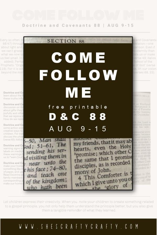 Come Follow Me Free printable D&C pinterest pin.