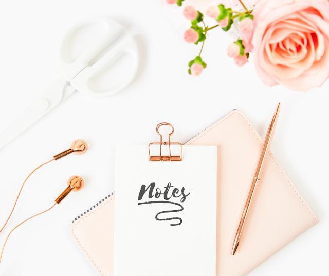 notes, flowers, earbuds, clipboard, pen, pretty office, feminine office