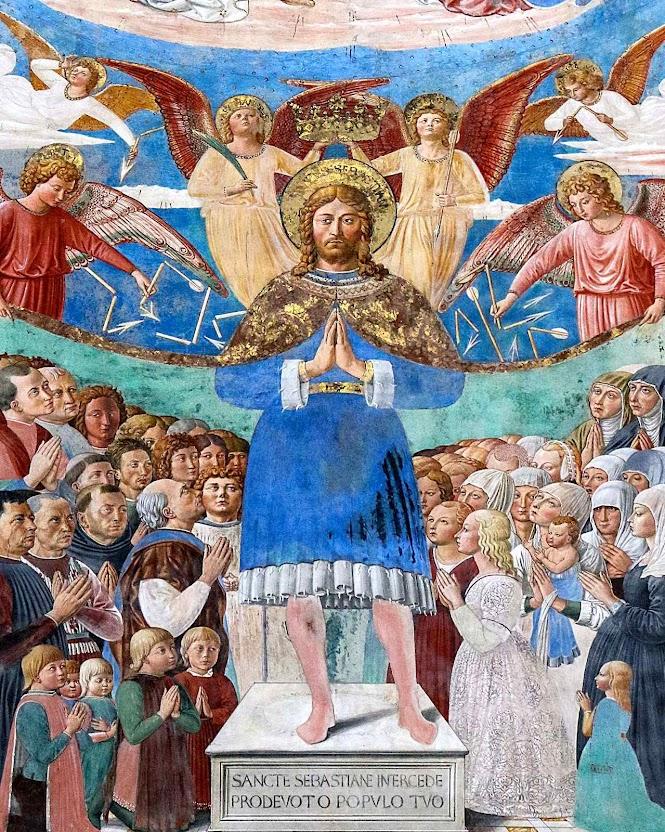 São Sebastião, vencedor das epidemias. Igreja de Sant'Agostino, San Gimignano, Itália (detalhe).