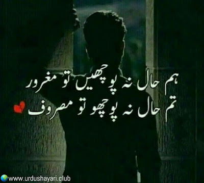 Hum Haal Na Pochay To Magrur..  Tum Haal Na Pocho to Masroof..!!  #lines
