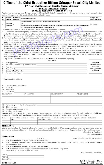 Jobs in Srinagar Smart City