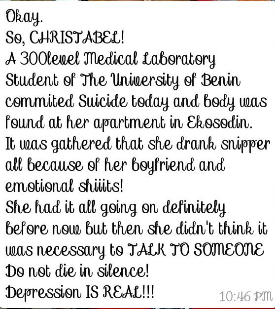 300 Level UNIBEN female Student Commits Suicide