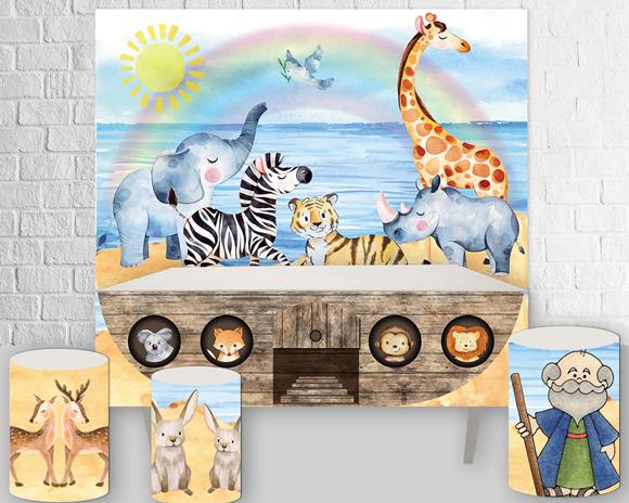 arca de noé, bichinhos, painel, arte digital, kit digital, arte personalizada, aquarela, aquarelado, festa infantil