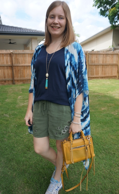 Jeanswest navy tee olive shorts and tie dye kimono poncho summer mum outfit with mustard bag | away from blue
