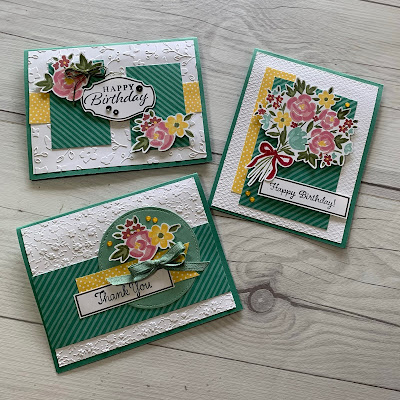 Three floral greeting cards using Paper Pumpkin Bouquet of Hope