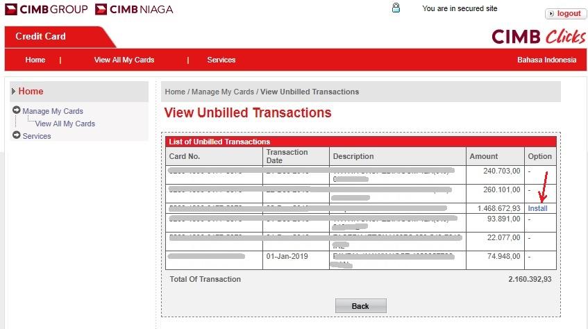 Cara Merubah Transaksi Kartu Kredit Menjadi cicilan_dashboard