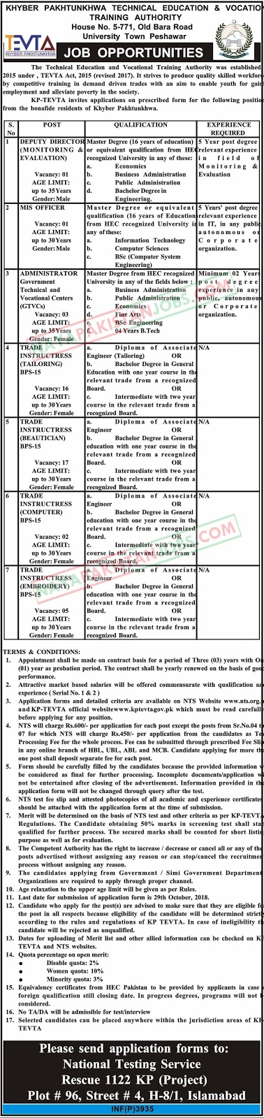 Latest Vacancies Announced in KHYBER PAKHTUNKHWA Technical Education And Vocational Training Authority TEVTA Jobs By NTS 14 Oct 201823 October 2018 - Naya Pakistan
