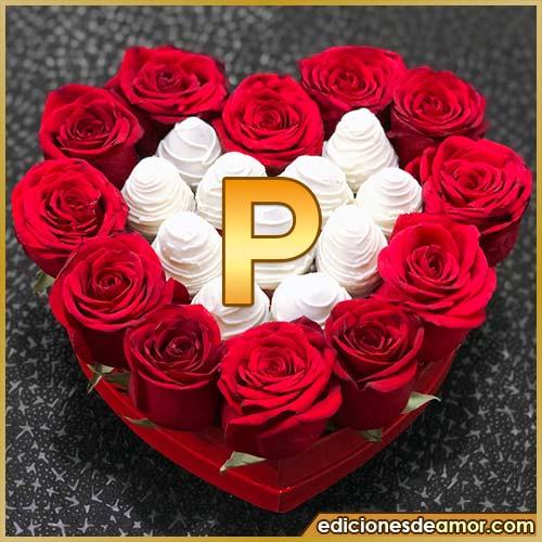 corazón de rosas rojas P