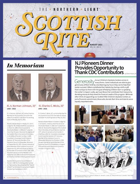 The Northern Light. Scottish Rite, NMJ. August, 2021. Magazine. Art by Travis Simpkins
