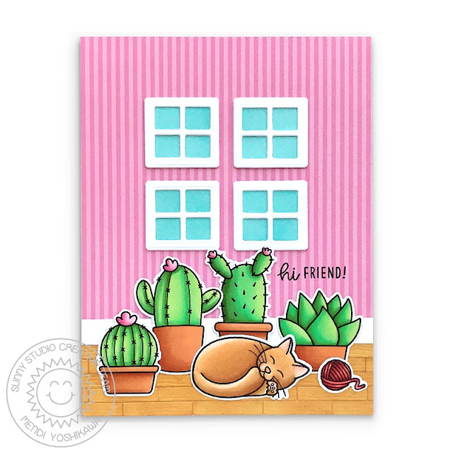Sunny Studio Kitty Sleeping in front of Window with Cactus & Succulent Plant Card (using Looking Sharp & Pet Sympathy Stamps, Picket Fence Die, Sweet Treat House Add-on Die & Striped Silly Paper)