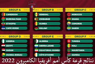 نتائج قرعة كأس أمم أفريقيا الكاميرون 2022