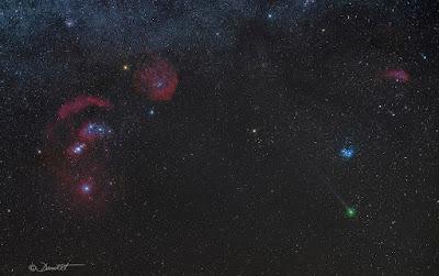 Constelación de Orión y cometa Lovejoy por Dani Caxete