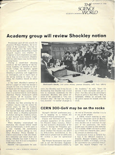 "Page from the 27 Oct 1969 issue of ""The Science World"", showing a photo of Shockely being confronted by applauding Black students on campus."