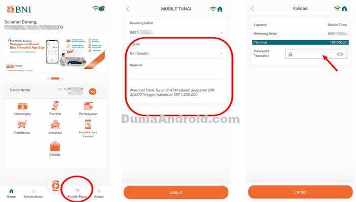 menu tarik tunai di aplikasi mobile banking BNI
