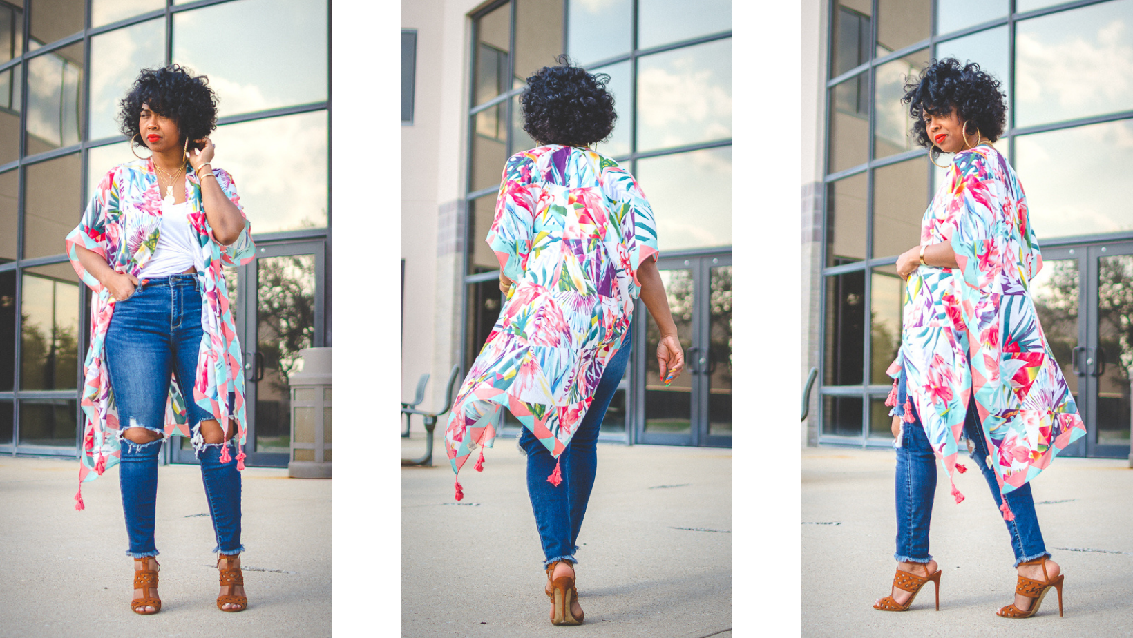 sweenee style, easy spring outfit idea, how to wear distressed jeans, indianapolis fashion blog, style blog, how to wear a kimono, natural hair