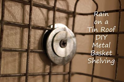 DIY Metal Basket Shelving {rainonatinroof.com} #DIY #metal #basket #shelving #shelf #storage