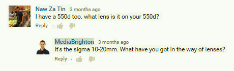 Answering a YouTube comment to create more engagement