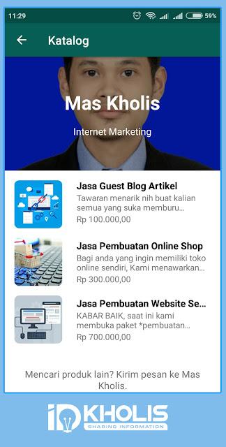 Tampilan katalog produk toko online whatsapp business
