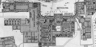 A grey and black on white floor plan of an extensive and complex building including Library, Grave Yard, Court Room, Prison, Court of Session, High Court and Judges' Rooms