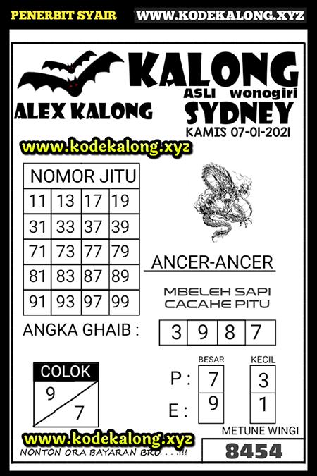 Prediksi Kalong Sidney Selasa 07 Januari 2021