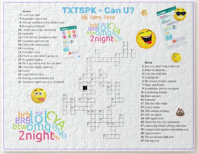 Crossword jigsaw Text speak dictionary