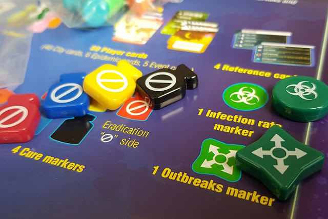 Pandemic Game Review colourful counters disease markers close up photo