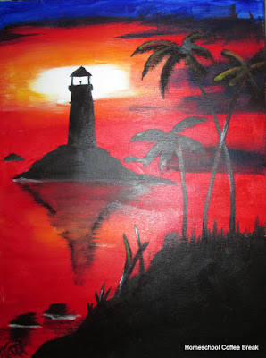 Caribbean Lighthouse on the Virtual Refrigerator art link-up hosted by Homeschool Coffee Break @ kympossibleblog.blogspot.com #art  #VirtualFridge
