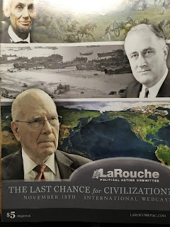 "LaRouchePAC magazine cover shows images of Lincoln, Franklin Roosevelt, and LaRouche with headline, ""The Last Chance for Civilization?"""