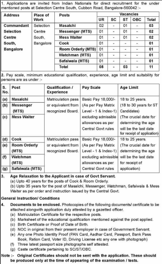 Selection Centre South Bangalore Recruitment 2017 Application Form